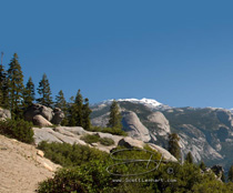 yosemite view of half dome, tenaya canyon, nevada fall and the distant mountains of the park viewed from glacier point