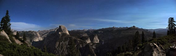 nighttime view of half dome, starr king and the high sierra from glacier point