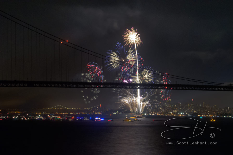golden gate bridge birthday celebration fireworks